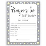 Grey Yellow Stars Prayers For The Baby, Baby Prayers, Prayers for The Baby, Baby Shower, Baby Shower Baby Prayers, Baby Prayers Cards, fun baby shower games, popular baby shower games