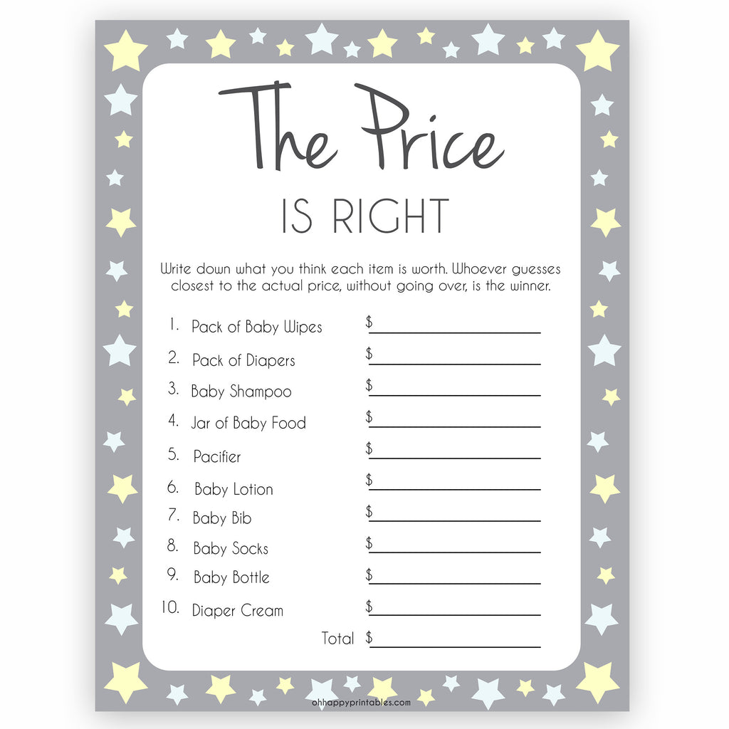 photo about Free Printable Price is Right Baby Shower Game identify The Cost is Immediately Sport - Gray Yellow Printable Child