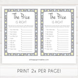 Grey Yellow Stars Price Is Right Baby Shower Game, Grey Stars Guess The Price Games, Printable Baby Shower Games, Price Is Right Game, fun baby shower games, popular baby shower games