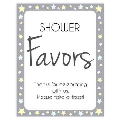 Printable baby signs, yellow and grey stars, baby shower favors sign, printable baby shower signs, top baby shower decor, baby printable decor