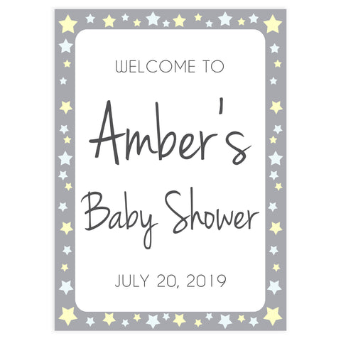 baby shower welcome sign, printable baby welcome signs, baby shower signs, yellow stars baby signs, fun baby shower decor