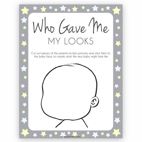 Grey Yellow Stars Baby Face Game, What Will Baby Look Like, Baby Face Guess The Looks, Printable Baby Shower Game, Baby Face, Gave Looks, fun baby shower games, popular baby shower games