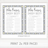 Grey Yellow Stars Who Knows Daddy Best, How Well Do you Know Daddy Games, Who Knows Daddy Game, Printable Baby Shower Games, Baby Shower, fun baby shower games, popular baby shower games