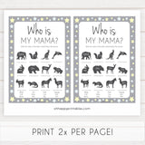 Grey Yellow Stars Who is My Mommy Animal Game, Who is my Mama Game, Baby Shower Games, Baby Shower, Who is my Mama, Animal Baby Game, fun baby shower games, popular baby shower games