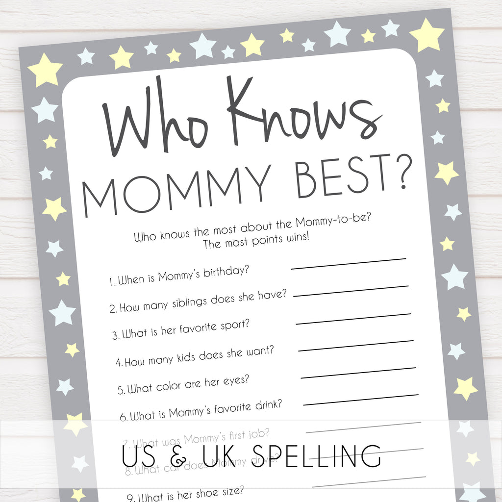 Who Knows Mommy Best Game Grey Yellow Printable Baby Shower