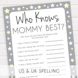 Grey Yellow Stars Who Knows Mommy Best Quiz, Baby Shower Games, Knows Mummy Games, Printable Baby Shower Games, Star Baby Shower Games, fun baby shower games, popular baby shower games