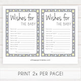 Grey Yellow Stars Wishes For The Baby, Baby Wishes, Wishes for The Baby, Grey Baby Shower, Baby Shower Baby Wishes, Baby Wishes Cards, fun baby shower games, popular baby shower games