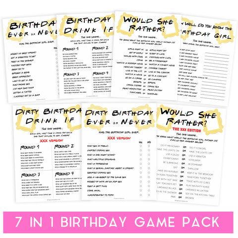 7 birthday games, would she rather birthday games, friends birthday games, fun birthday games, birthday drink if game