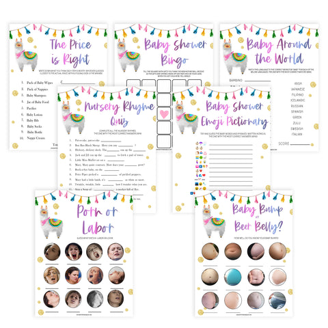 7 baby shower games, baby shower games bundle, Printable baby shower games, llama fiesta fun baby games, baby shower games, fun baby shower ideas, top baby shower ideas, Llama fiesta shower baby shower, fiesta baby shower ideas