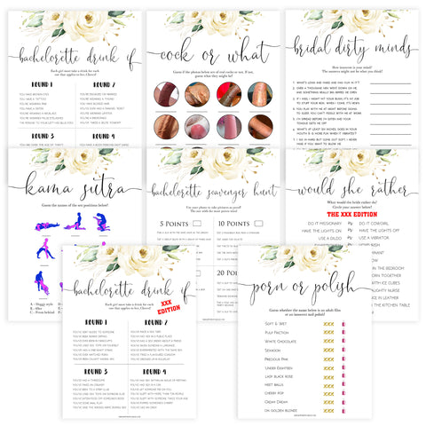 8 bachelorette games, Printable bachelorette games, floral bachelorette, floral hen party games, fun hen party games, bachelorette game ideas, floral adult party games, naughty hen games, naughty bachelorette games, cock or what, would she rather