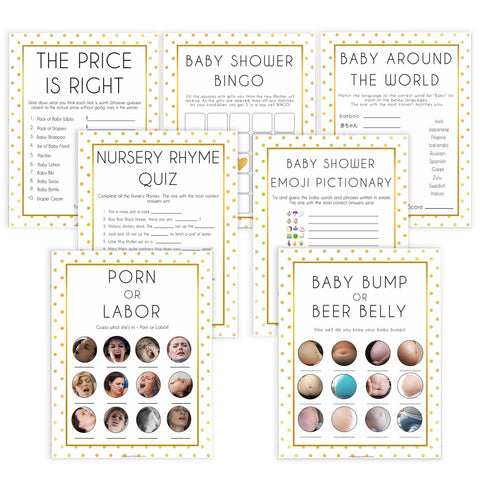 7 baby shower games, baby bundle pack, Printable baby shower games, baby gold dots fun baby games, baby shower games, fun baby shower ideas, top baby shower ideas, gold glitter shower baby shower, friends baby shower ideas