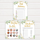 7 gold geometric baby shower games bundle, printable baby shower games, fun baby games, popular baby games, gold baby games