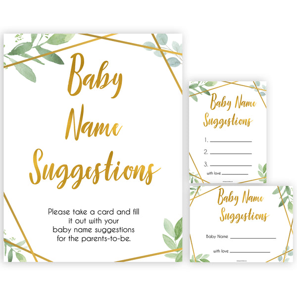 gold geometric baby name suggestions baby shower games, printable baby shower games, fun baby games, popular baby games, gold baby games