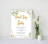 gold geometric dont say baby baby shower games, printable baby shower games, fun baby games, popular baby games, gold baby games