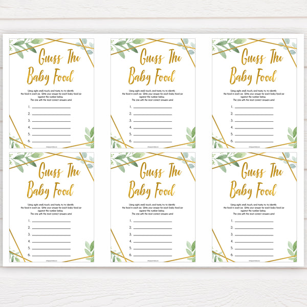 gold geometric guess the baby food baby shower games, printable baby shower games, fun baby games, popular baby games, gold baby games