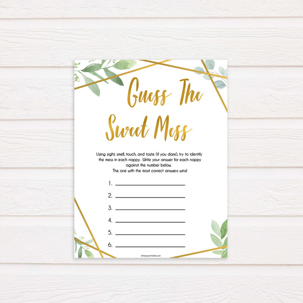 gold geometric guess the sweet mess baby shower games, printable baby shower games, fun baby games, popular baby games, gold baby games