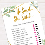 gold geometric he said she said baby shower games, printable baby shower games, fun baby games, popular baby games, gold baby games