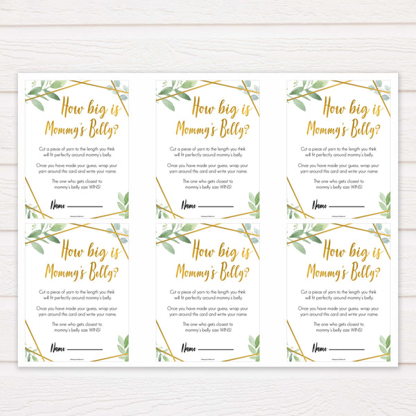 gold geometric how big is mummys belly baby shower games, printable baby shower games, fun baby games, popular baby games, gold baby games