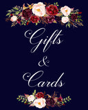 Gifts & Signs wedding sign marsala flowers printable