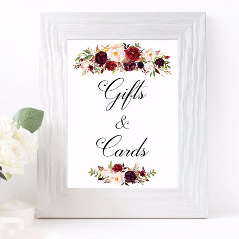 Gifts & Signs wedding sign marsala flowers white printable sign