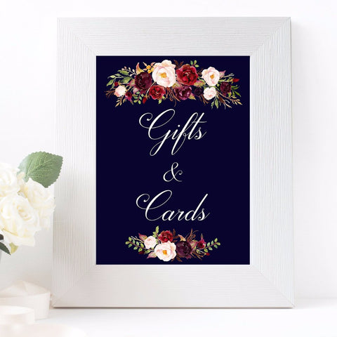 Marsala Gifts & Cards wedding sign midnight blue printable