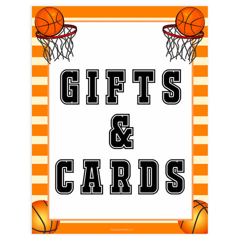 gift and cards sign, gifts and cards table sign, Basketball baby decor, printable baby table signs, printable baby decor, Basketball table signs, fun baby signs, Basketball fun baby table signs