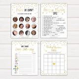 7 Gold Glitter Baby Shower Games Pack Bundle