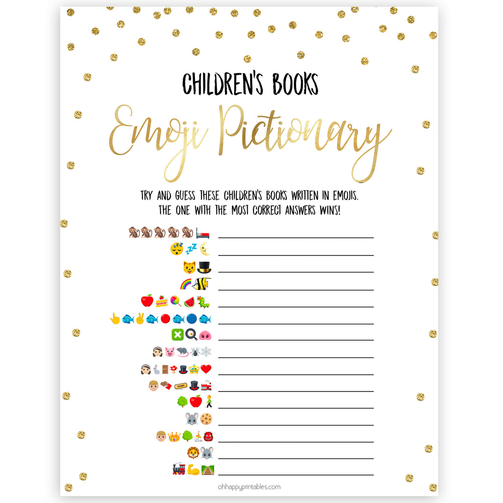 Childrens Books Emoji Pictionary Gold Glitter Printable Baby