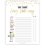 Gold Confetti Emoji Pictionary Baby Shower Games, Emoji Baby Shower Games, Gold Glitter Emoji Pictionary, Baby Shower Emoji Game, Emoji, best baby shower games, hilarious baby shower games