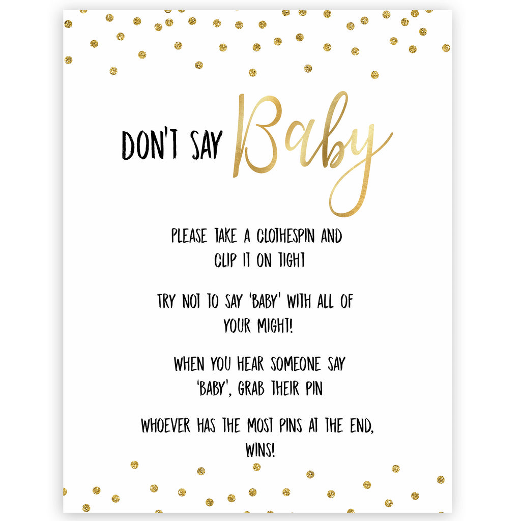 graphic about Don T Say Baby Game Printable known as Dont Say Boy or girl Match - Gold Glitter