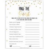 Gold Find The Guest Baby Shower Game, Find the Guest, Ice Breaker Game, Baby Shower Games, Gold Glitter Baby Shower, Find the Guest, baby shower games, best baby shower games