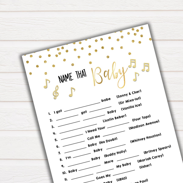 Name That Song Baby Shower Game, Baby Song Games, Baby Shower Games, Gold Baby Shower Baby Shower, Name that Song Game, Whats That Song