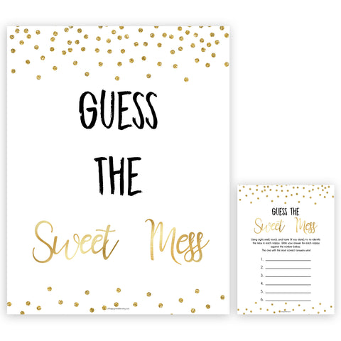 Gold Glitter Baby Shower Guess The Mess Game, Gold Glitter Baby Shower Guess The Sweet Mess, Baby Shower Games, Guess The Mess, hilarious baby shower games, funny baby games, bets baby games