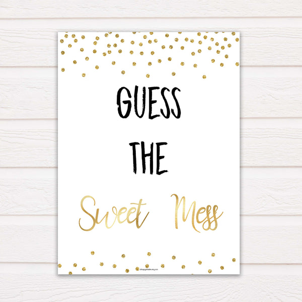Gold Glitter Baby Shower Guess The Mess Game, Gold Glittter Baby Shower Guess The Sweet Mess, Baby Shower Games, Guess The Mess, hilarious baby shower games, funny baby games, bets baby games