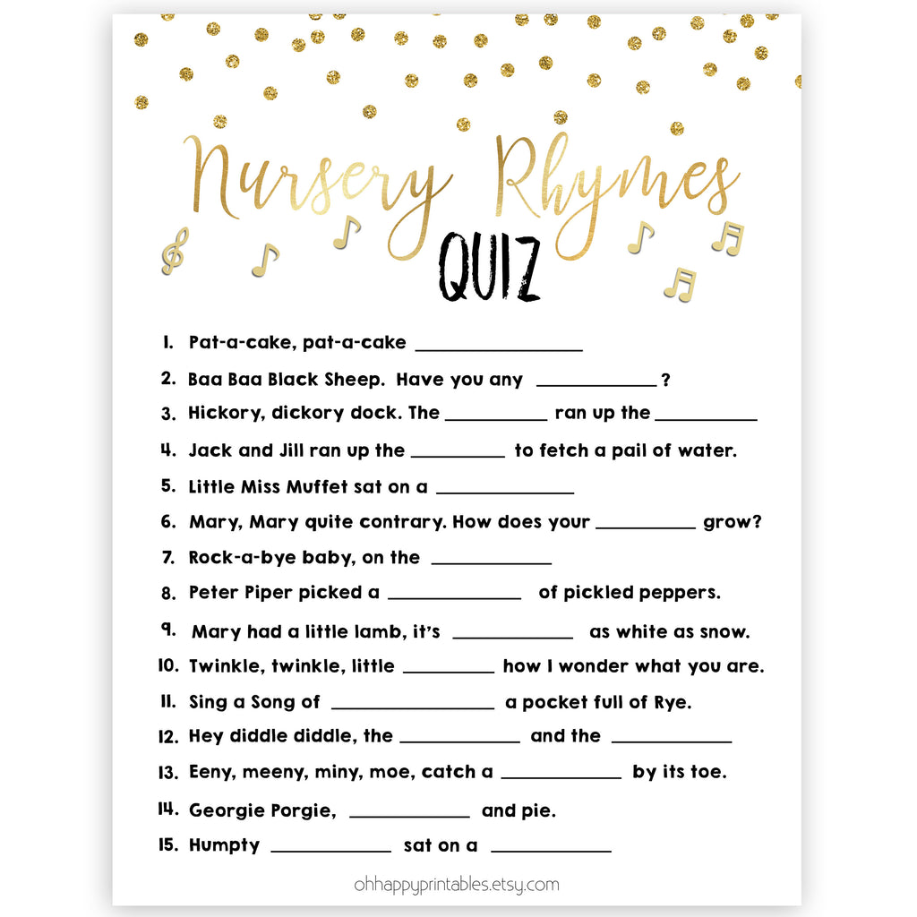 Nursery Rhyme Quiz Gold Glitter Printable Baby Shower Games Ohhappyprintables