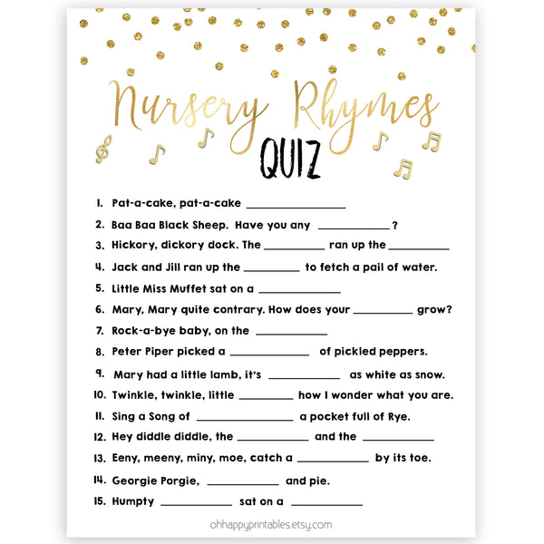 Nursery Rhyme Quiz, Baby Shower Games, Guess Nursery Rhyme Game, Gold Baby Shower, Fun Baby Shower Games, Name that Nursery Rhyme