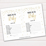 Prayers for the baby, gold glitter prayers for the baby, prayer baby card, baby shower games, baby games, gold glitter baby theme, best baby games