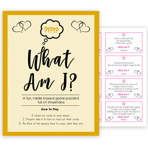 24 What Am I Innuendo Baby Shower Games, Innuendo Riddle Gold Baby Shower Games, What Am I Games, Baby Games, Adult Baby Shower, fun baby shower games, funny baby games