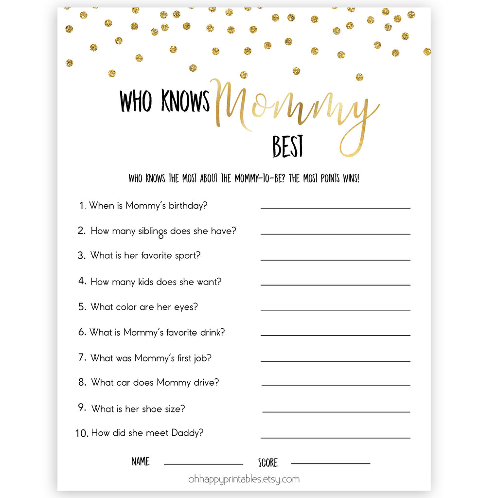 photo about Who Knows Mommy Best Printable titled Who Is aware of Mommy Suitable Recreation - Gold Glitter