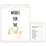Gold Glitter Wishes For The Baby, Baby Wishes, Wishes for The Baby, Gold Baby Shower, Baby Shower Baby Wishes, Gold Baby Wishes Cards