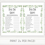 Greenery Find The Guest Baby Shower Game, Find the Guest, Ice Breaker Game, Baby Shower Games, Botanical Baby Shower, Find the Guest, printable baby shower games, fun baby shower games, popular baby shower games
