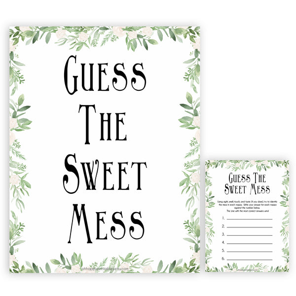 reenery Baby Shower Guess The Mess Game, Bontanical Baby Shower Guess The Sweet Mess, Baby Shower Games, Guess The Mess, Baby Games, printable baby shower games, fun baby shower games, popular baby shower games