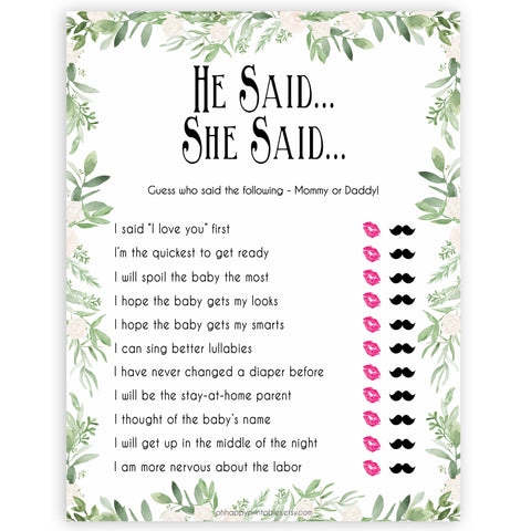 Greenery He Said She Said Baby Shower Game, Who Said It, Baby Shower Games, He Said She Said Game, Mommy or Daddy Game, Who What What, printable baby shower games, fun baby games, popular baby games