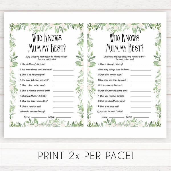 Greenery Who Knows Mommy Best Quiz, Baby Shower Games, Knows Mummy Games, Green Leaf Baby Shower Games, Green Fun Baby Shower Games, printable baby shower games, fun baby games, popular baby games