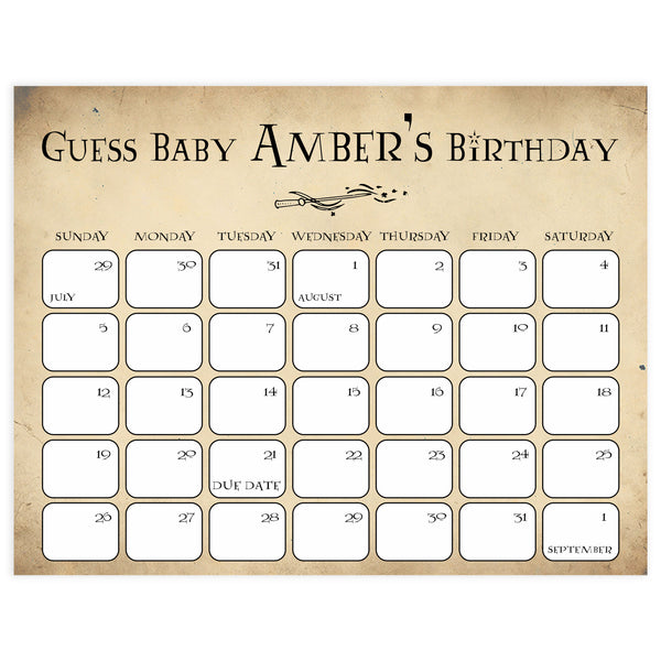 wizard guess the baby birthday game, harry potter baby shower games, baby birthday predictions game, printable baby games, wizard baby shower