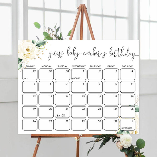 guess the baby birthday game, Printable baby shower games, shite floral baby games, baby shower games, fun baby shower ideas, top baby shower ideas, floral baby shower, baby shower games, fun floral baby shower ideas