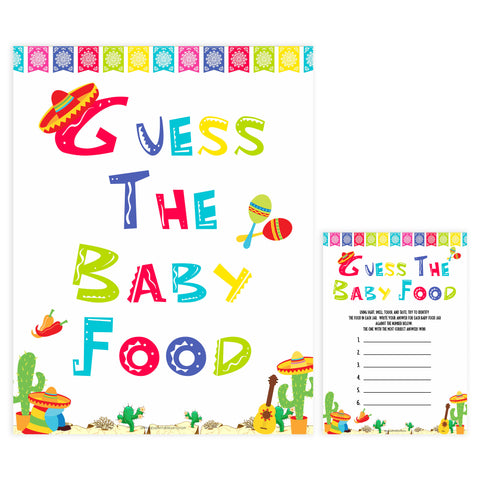 guess the baby food game, Printable baby shower games, Mexican fiesta fun baby games, baby shower games, fun baby shower ideas, top baby shower ideas, fiesta shower baby shower, fiesta baby shower ideas