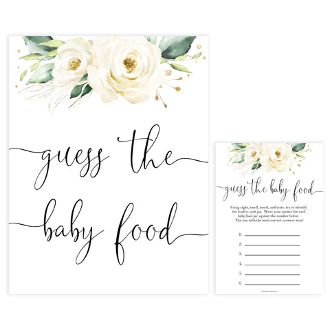 guess the baby food game, Printable baby shower games, shite floral baby games, baby shower games, fun baby shower ideas, top baby shower ideas, floral baby shower, baby shower games, fun floral baby shower ideas
