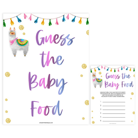 guess the baby food game, Printable baby shower games, llama fiesta fun baby games, baby shower games, fun baby shower ideas, top baby shower ideas, Llama fiesta shower baby shower, fiesta baby shower ideas