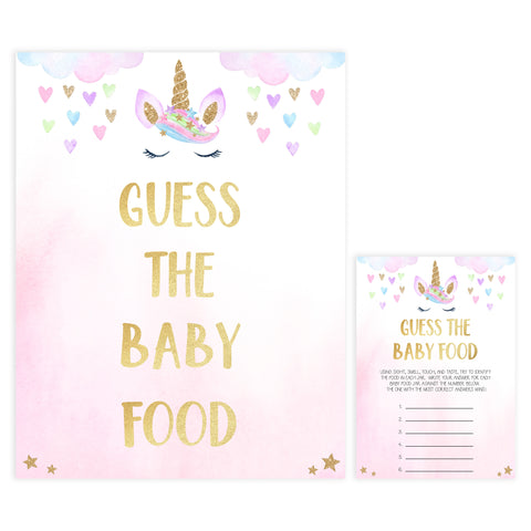 guess the baby food game, Printable baby shower games, unicorn baby games, baby shower games, fun baby shower ideas, top baby shower ideas, unicorn baby shower, baby shower games, fun unicorn baby shower ideas